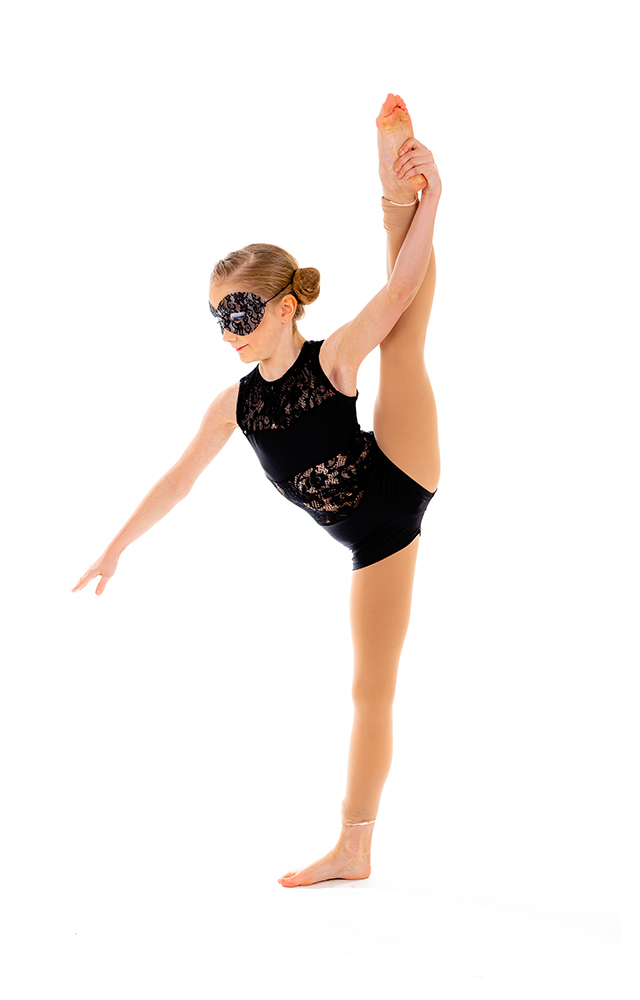 young dancer in black costume