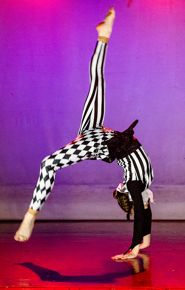 harlequin costume acro dancer