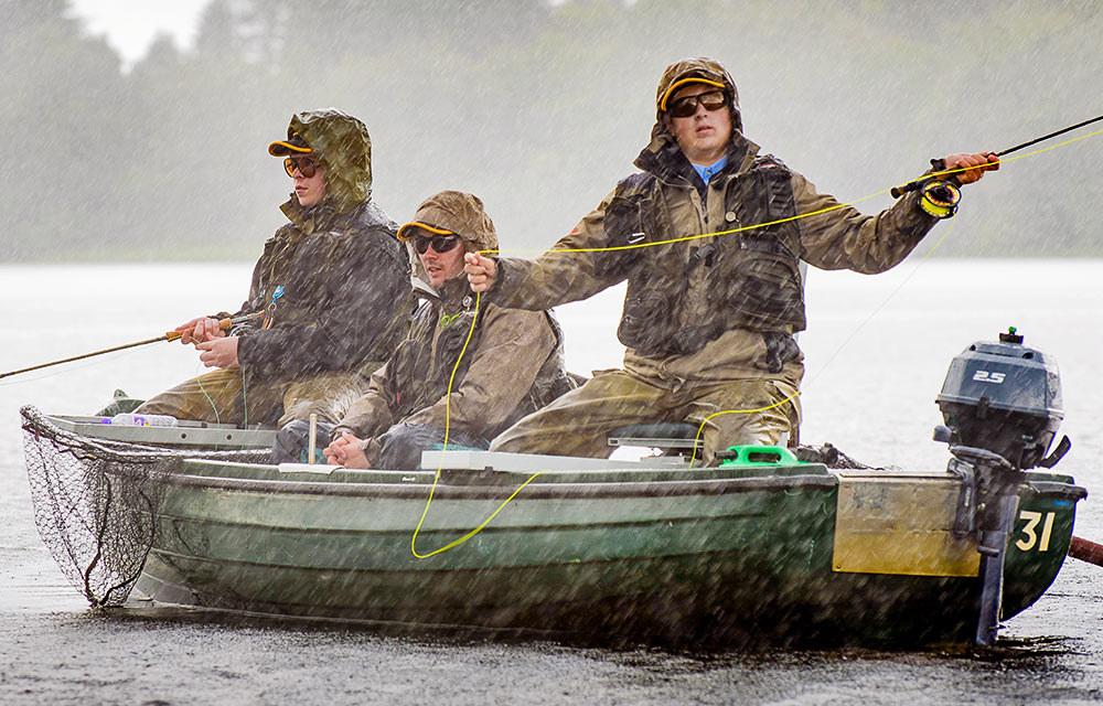 fishing event in puring rain