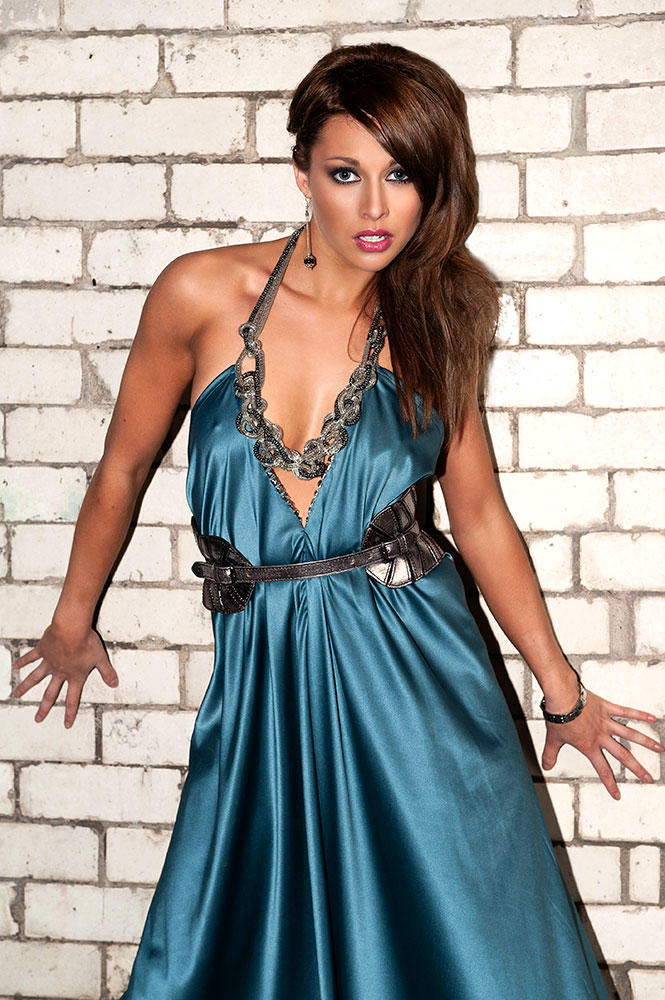 fashion photo of model in blue dress