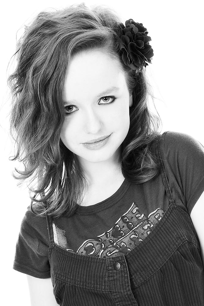 black and white photo of girl with attitude